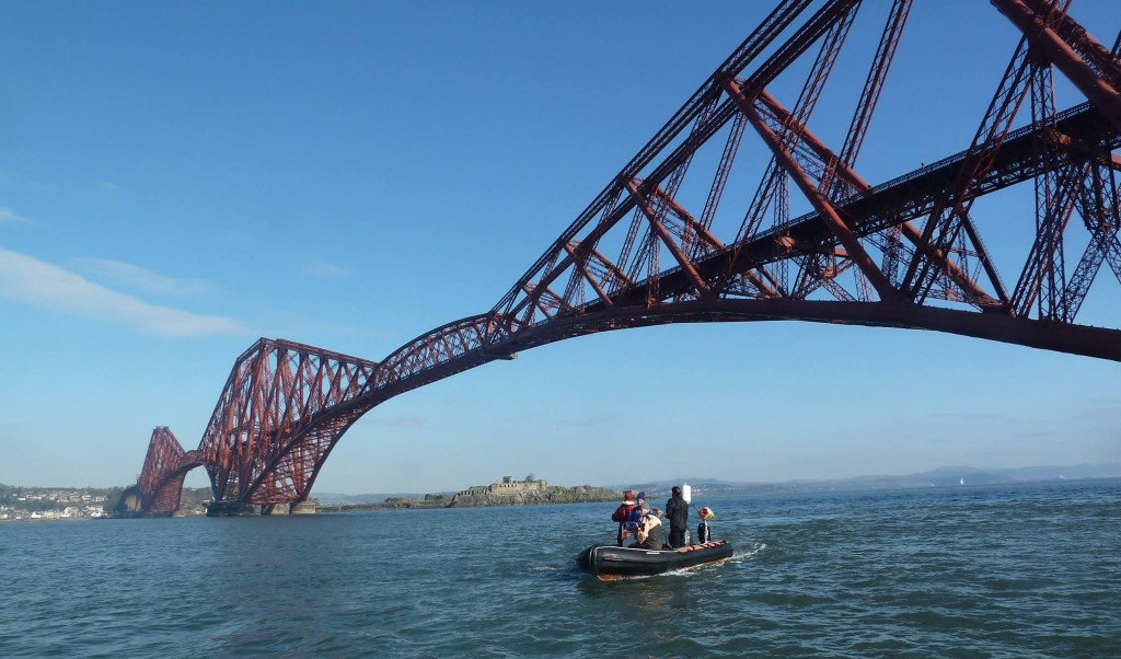 The club RIB under the Forth rail bridge.